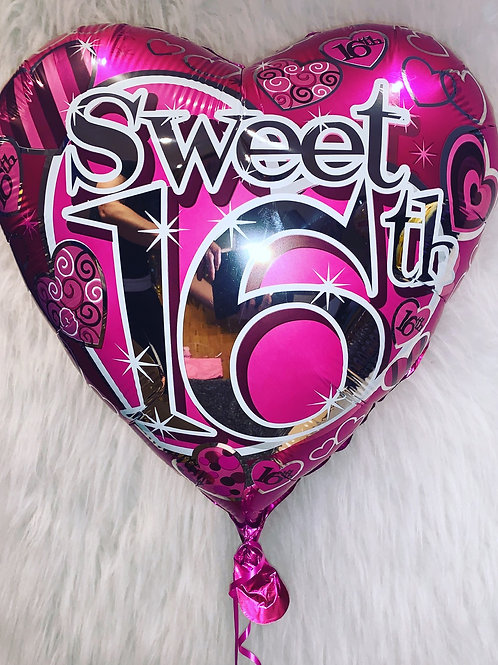 Sweet 16th Pink Holographic Balloon inflated in a gift box