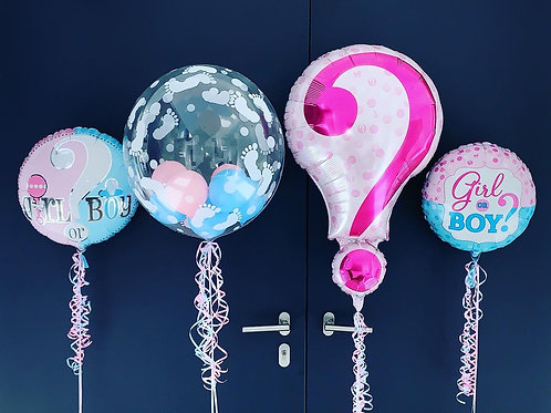 Gender reveal party balloons