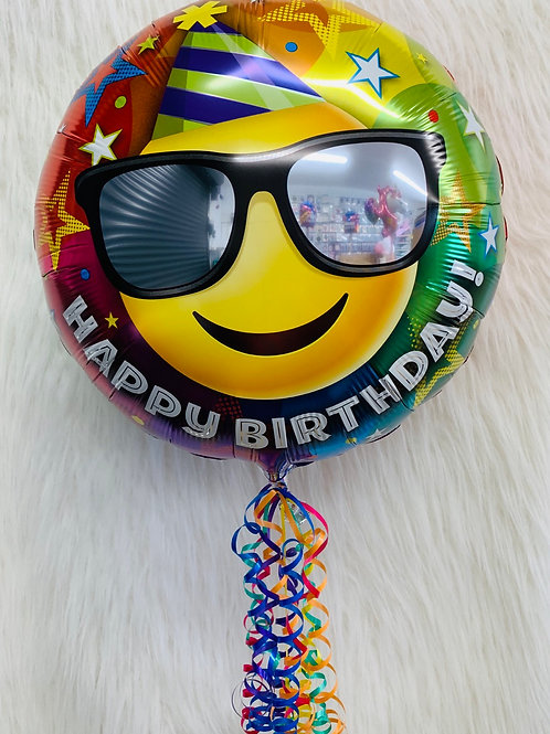 Happy Birthday Smiley Face inflated balloon in a gift box