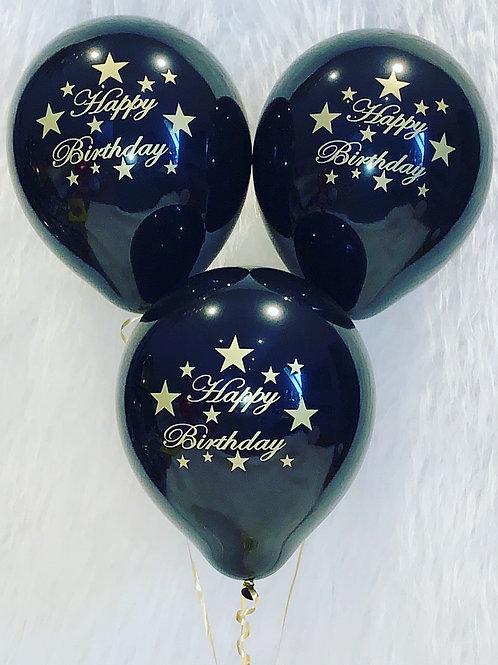 Latex Black Happy Birthday Balloons