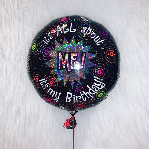 It's all about ME! Birthday balloon inflated in a gift box