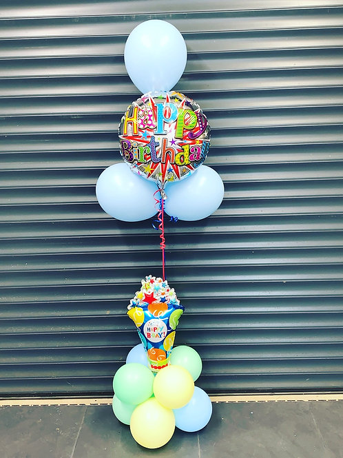 Happy Birthday latex and foil air and helium display
