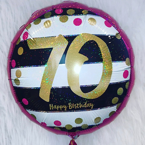70th Pink and Gold Happy Birthday balloon in a gift box