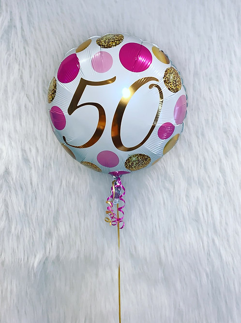 """50th Gold and pink 18"""" Foil Balloon inflated in a gift box"""