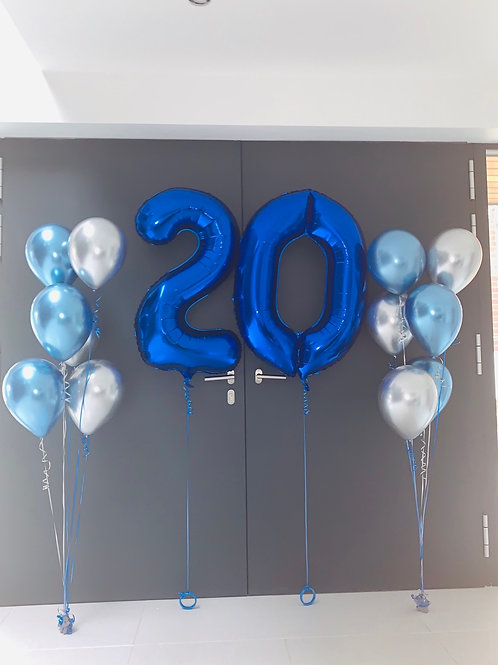 "34"" Blue foil Inflated Numbers and latex bouquets"
