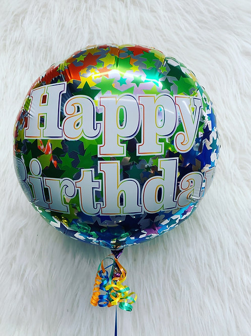Happy Birthday Stars Balloon in a gift box