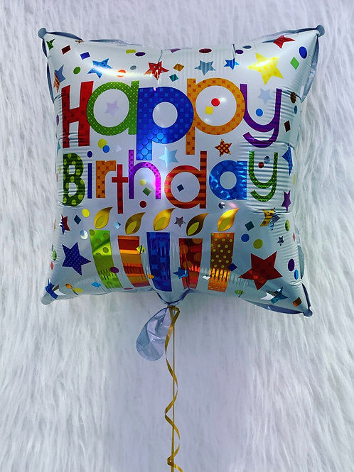 Happy Birthday Square Candle Balloon