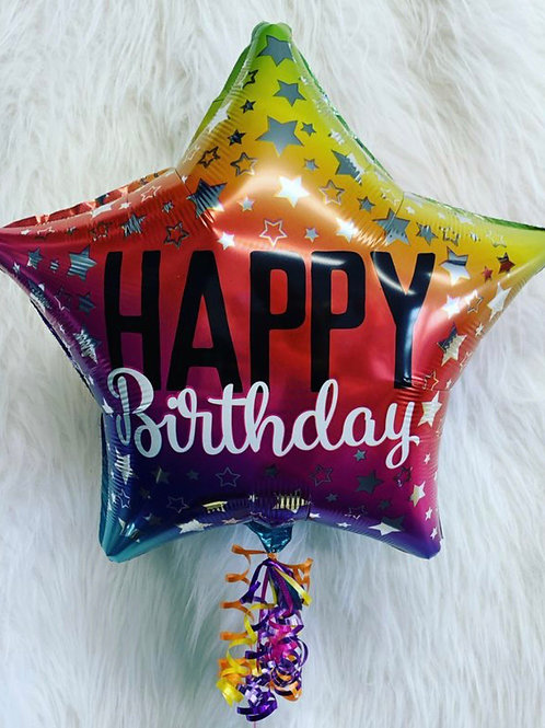Happy Birthday Holographic star balloon inflated in a gift box