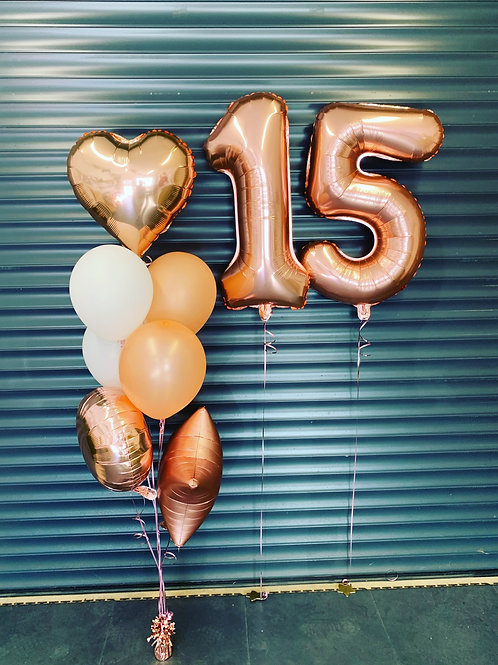 Foil numbers with latex and foil bouquets