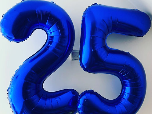 """34"""" Foil Blue Numbers Inflated"""