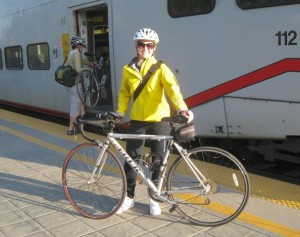 Alex and her bike boarding the Caltrain to S. San Francisco