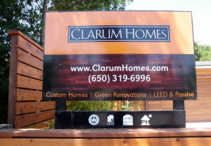 Clarum sign at the front of the property