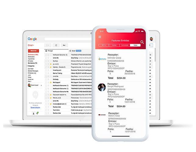 Selecciona y exporta las facturas al correo electronico