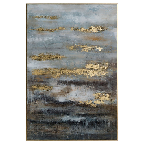 Abstract Gold & Grey  Glass Image With Gold Frame