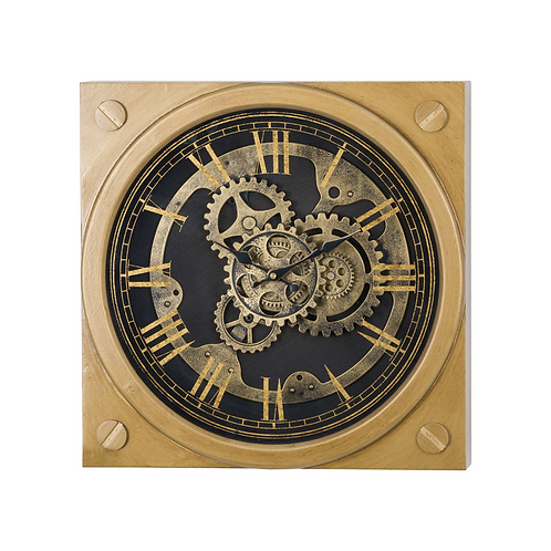 Square Gold Moving Mechanism Clock