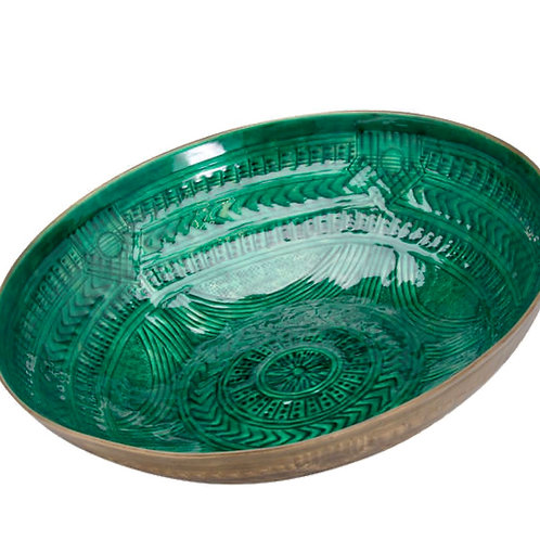 Aztec Collection Brass Embossed Ceramic Bowl