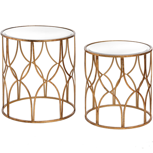 Gold lattice side tables