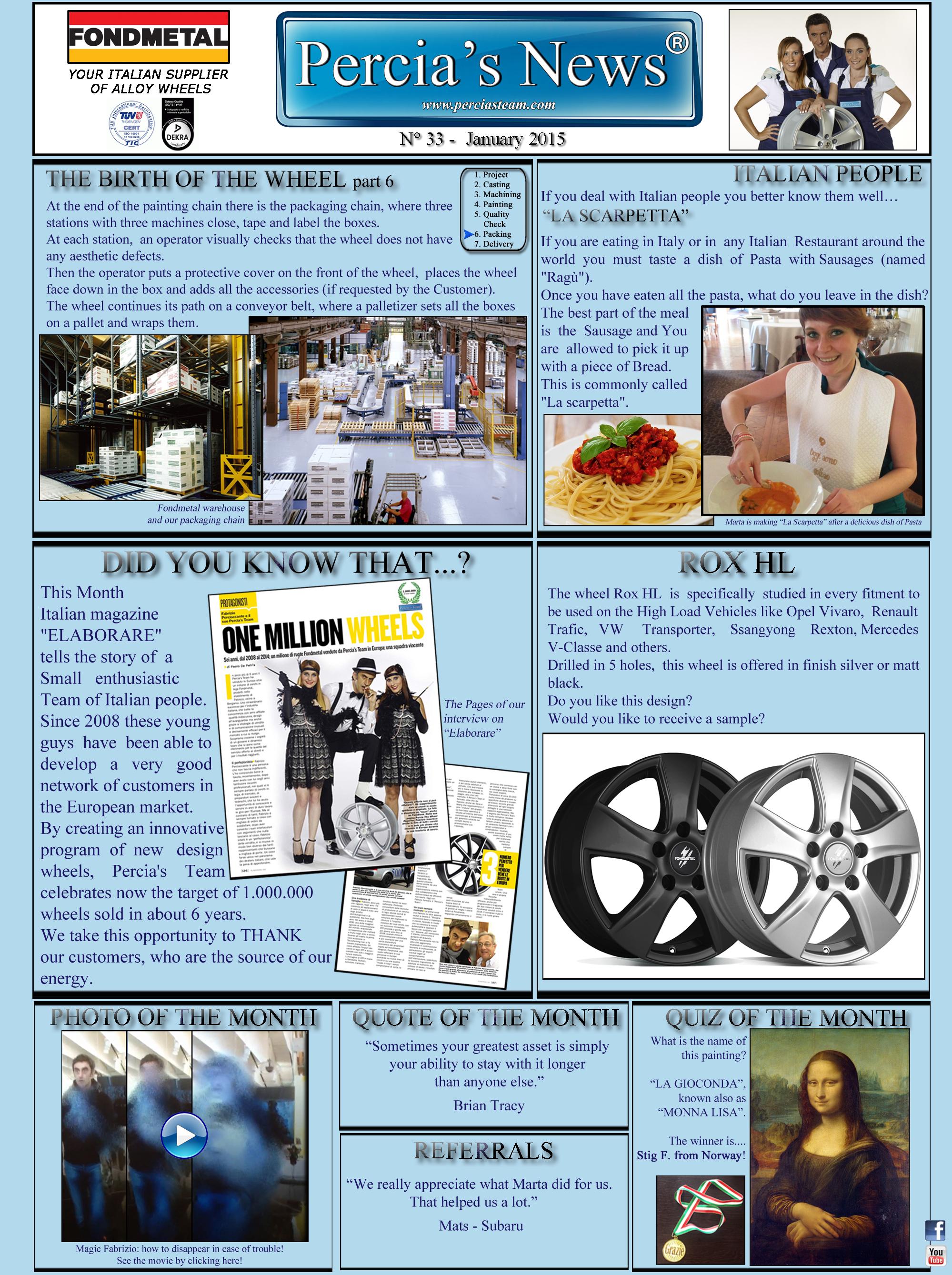 PERCIA'S NEWS - JANUARY 2015