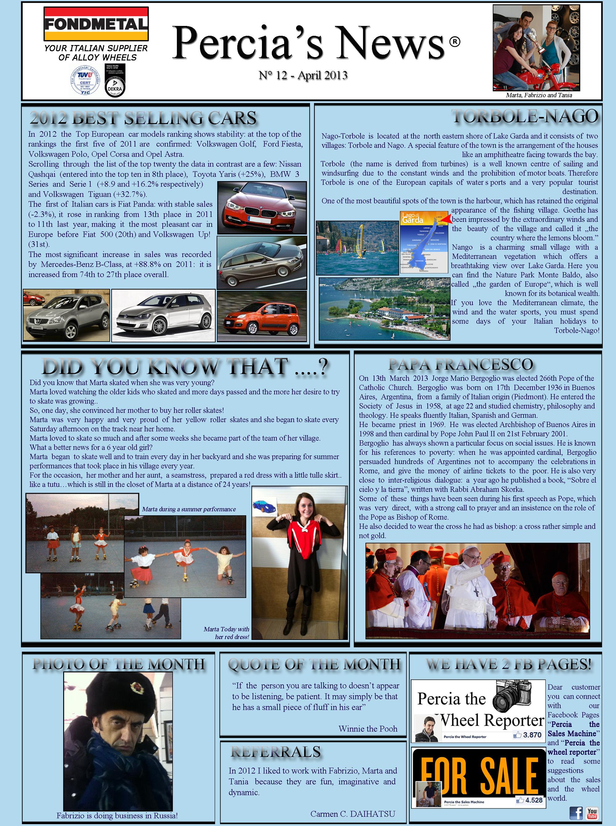 PERCIA'S NEWS APRIL 2013