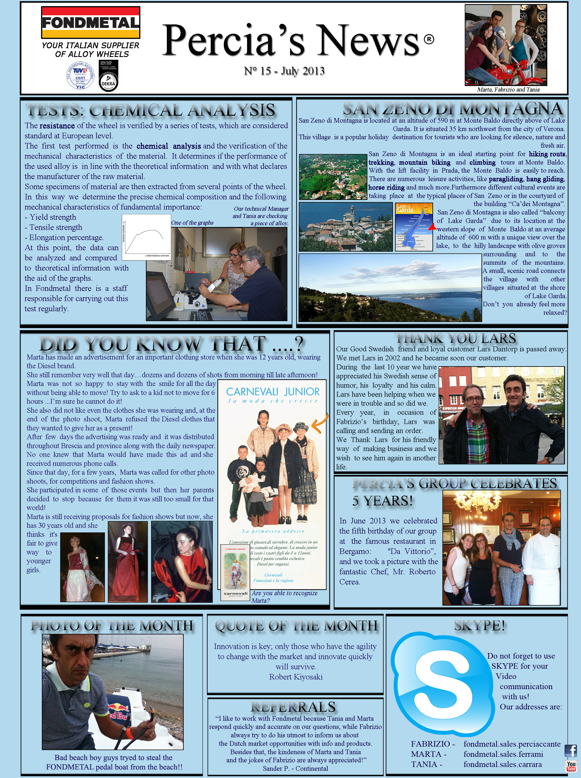 PERCIA'S NEWS JULY 2013