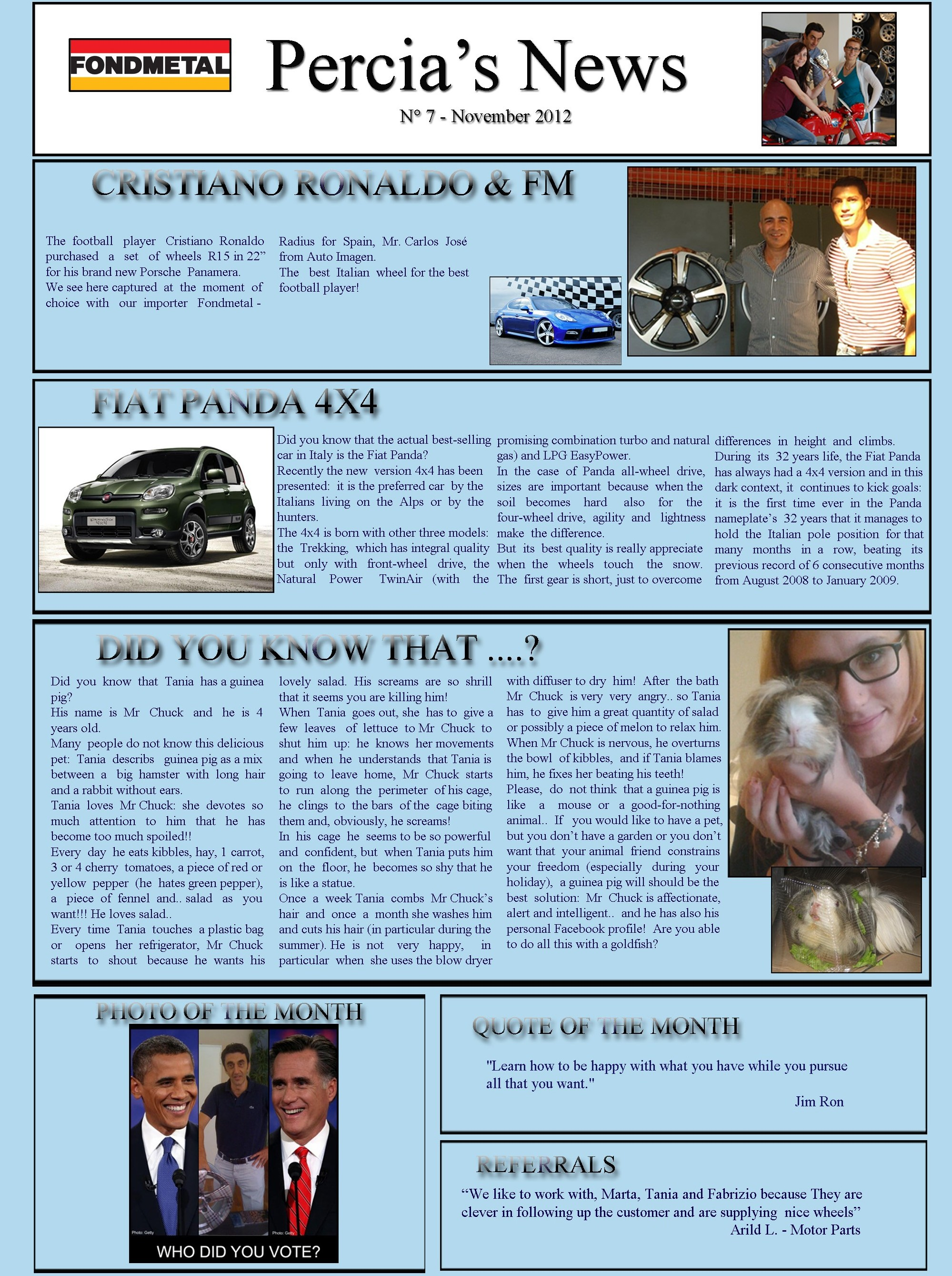 PERCIA'S NEWS NOVEMBER 2012