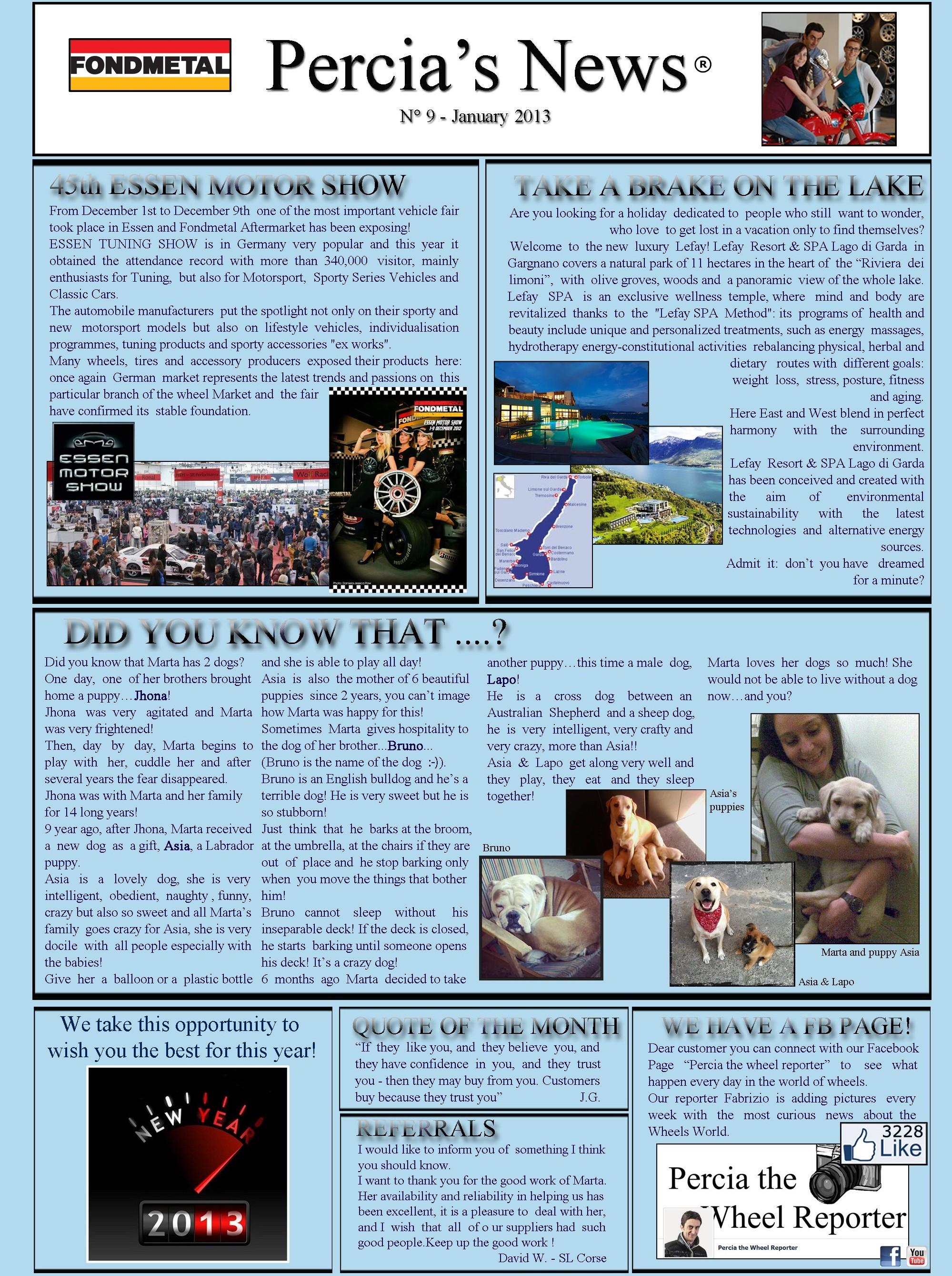 PERCIA'S NEWS JANUARY 2013