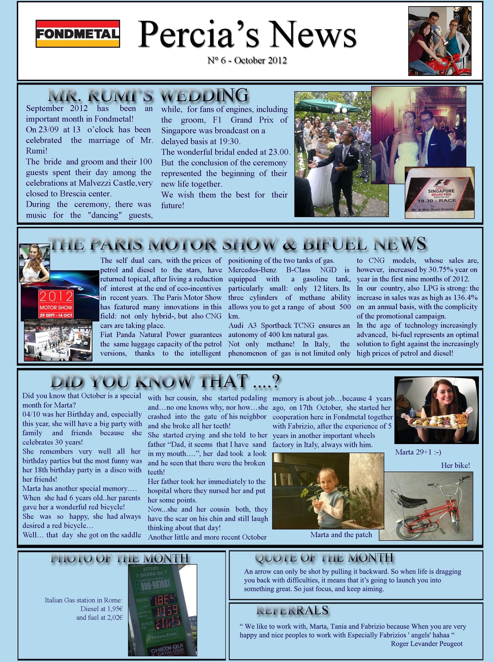 PERCIA'S NEWS OCTOBER 2012