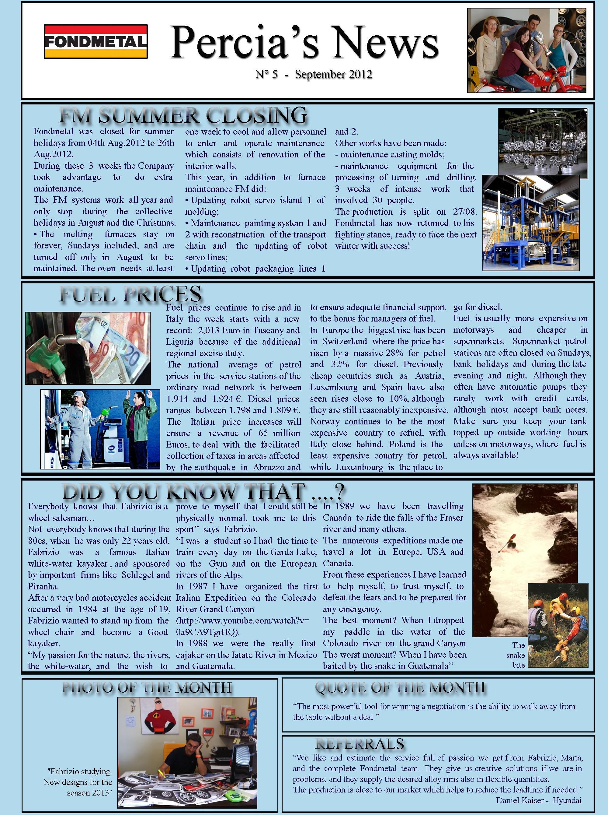 PERCIA'S NEWS SEPTEMBER 2012