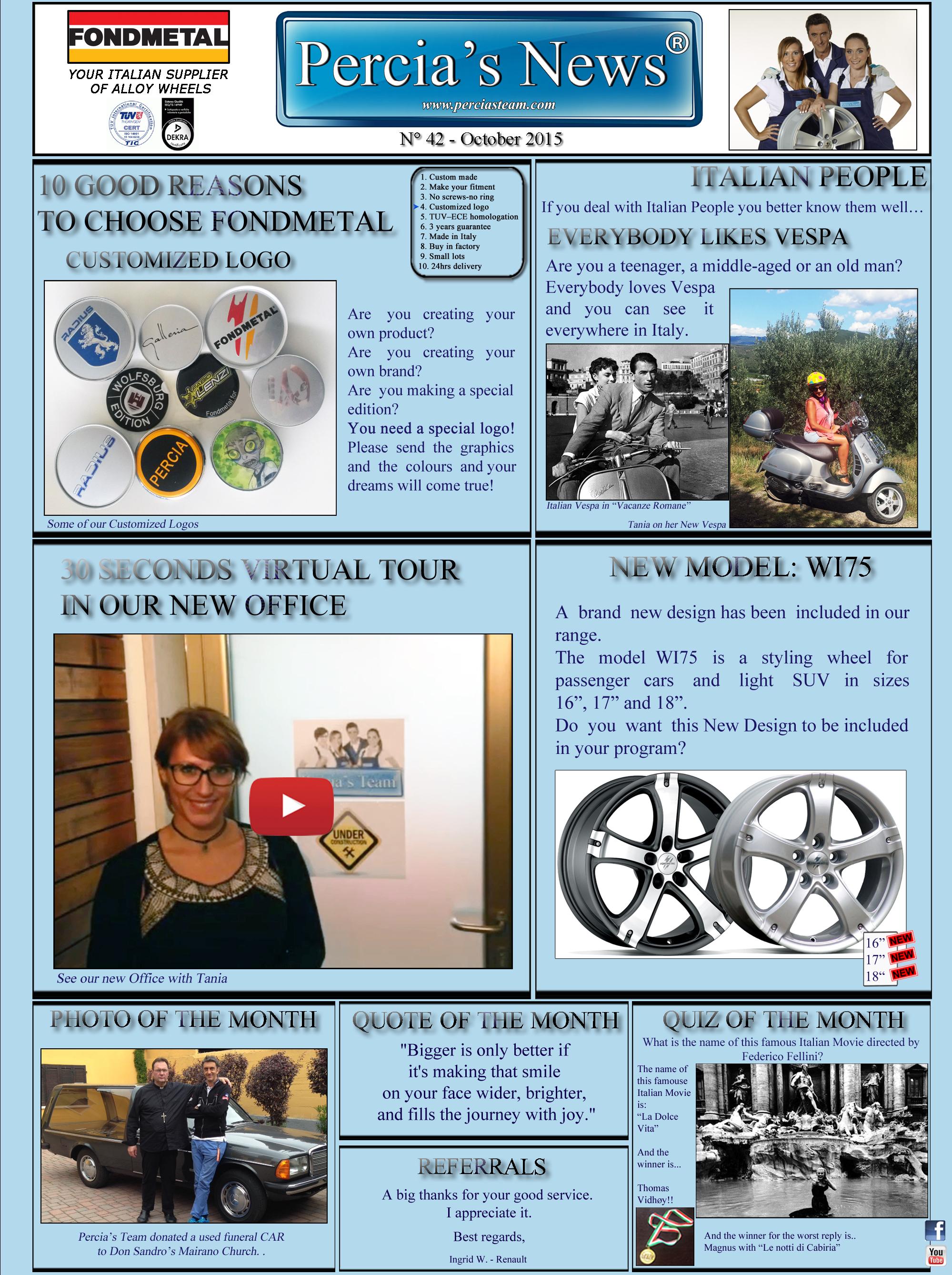 PERCIA'S NEWS - OCTOBER 2015