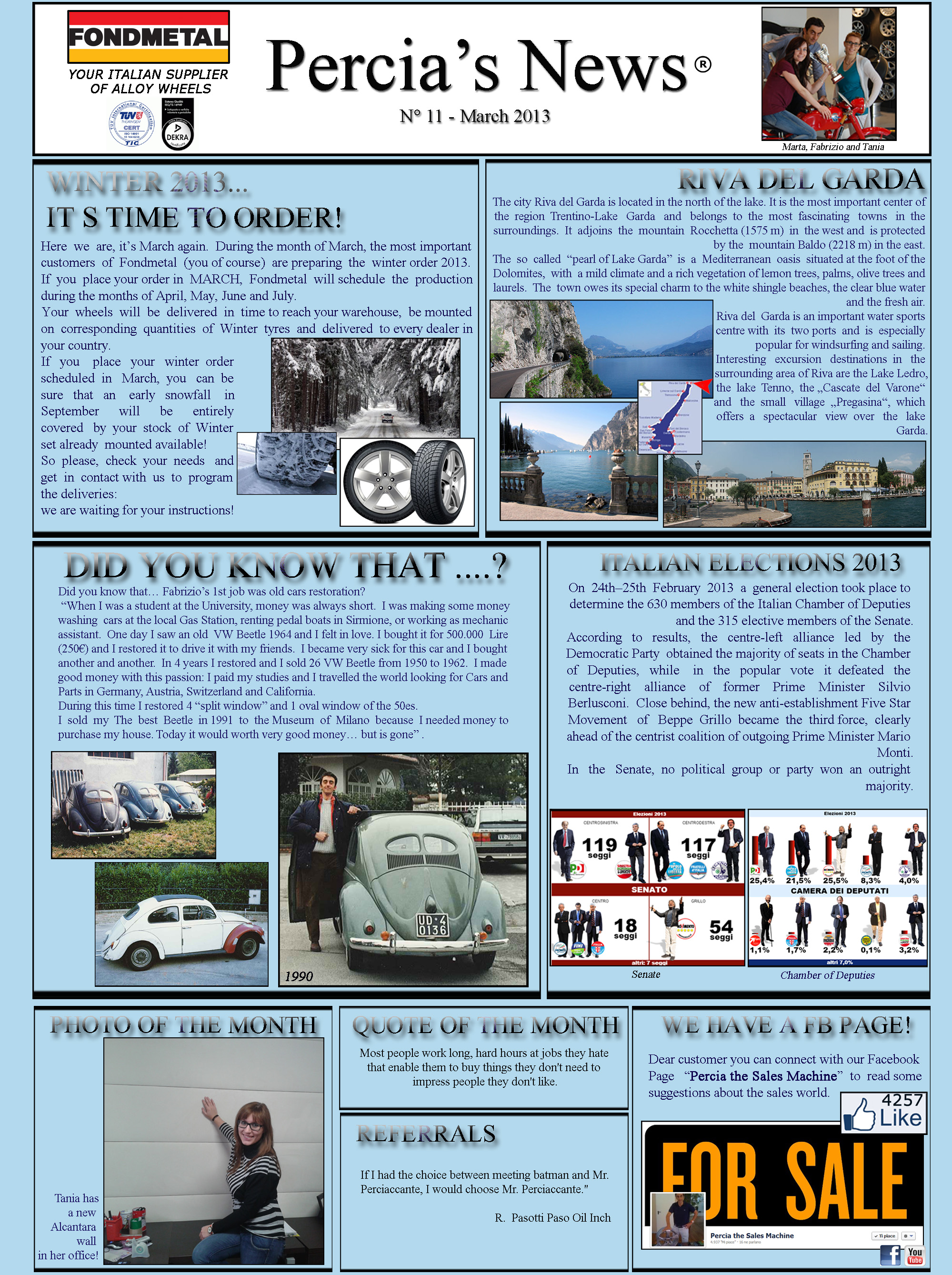 PERCIA'S NEWS MARCH 2013