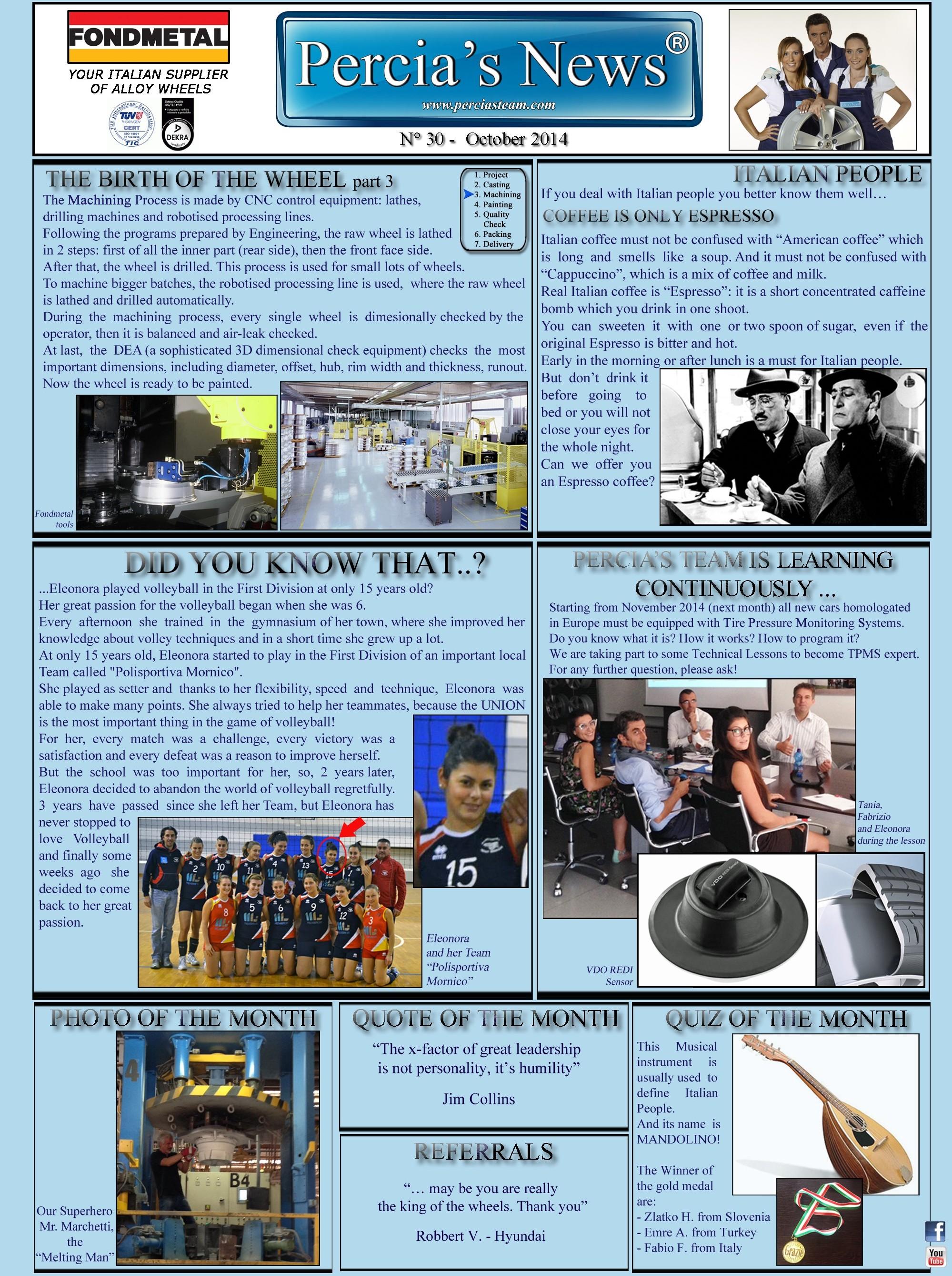 PERCIA'S NEWS OCTOBER 2014