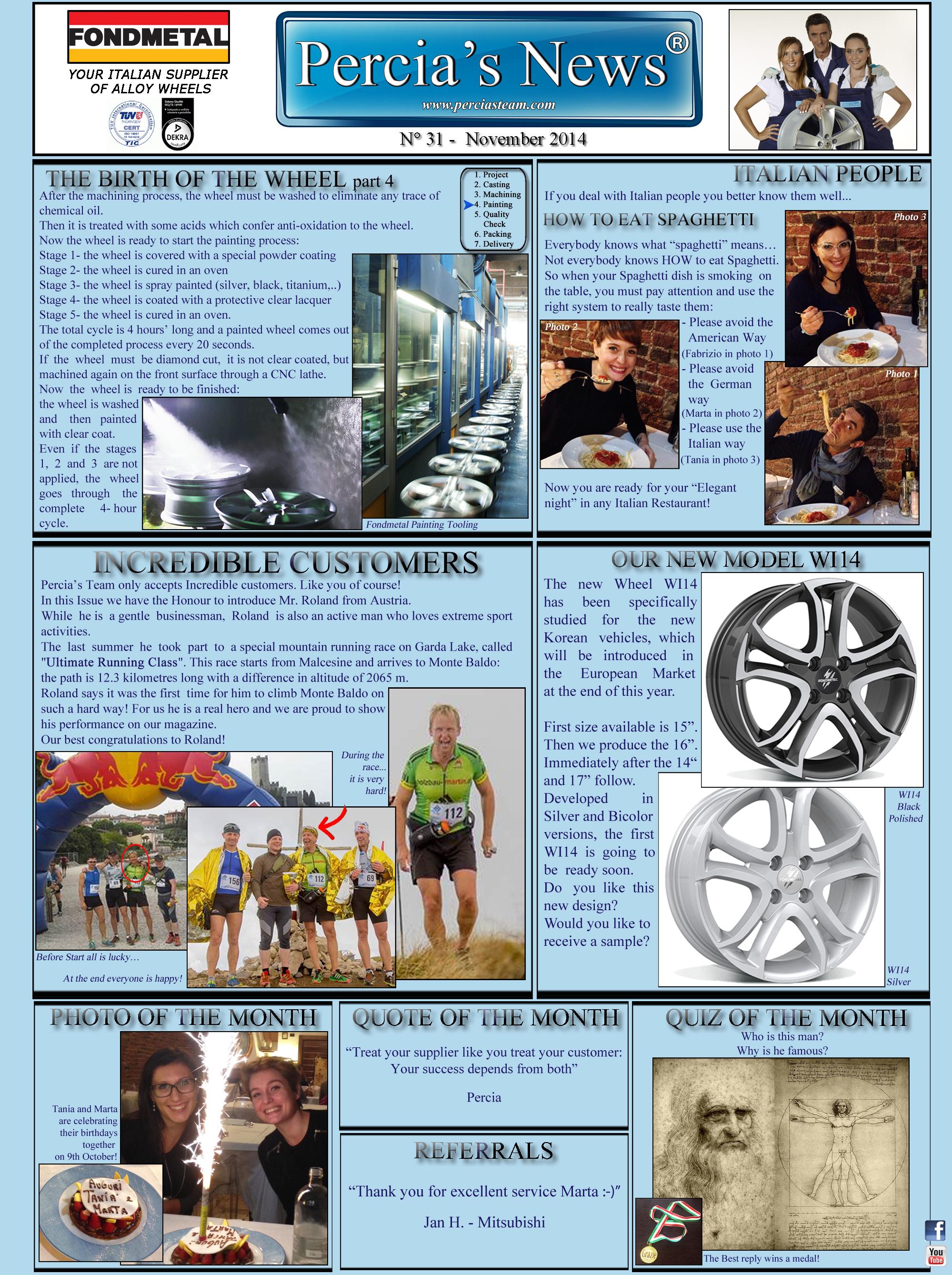 PERCIA'S NEWS NOVEMBER 2014