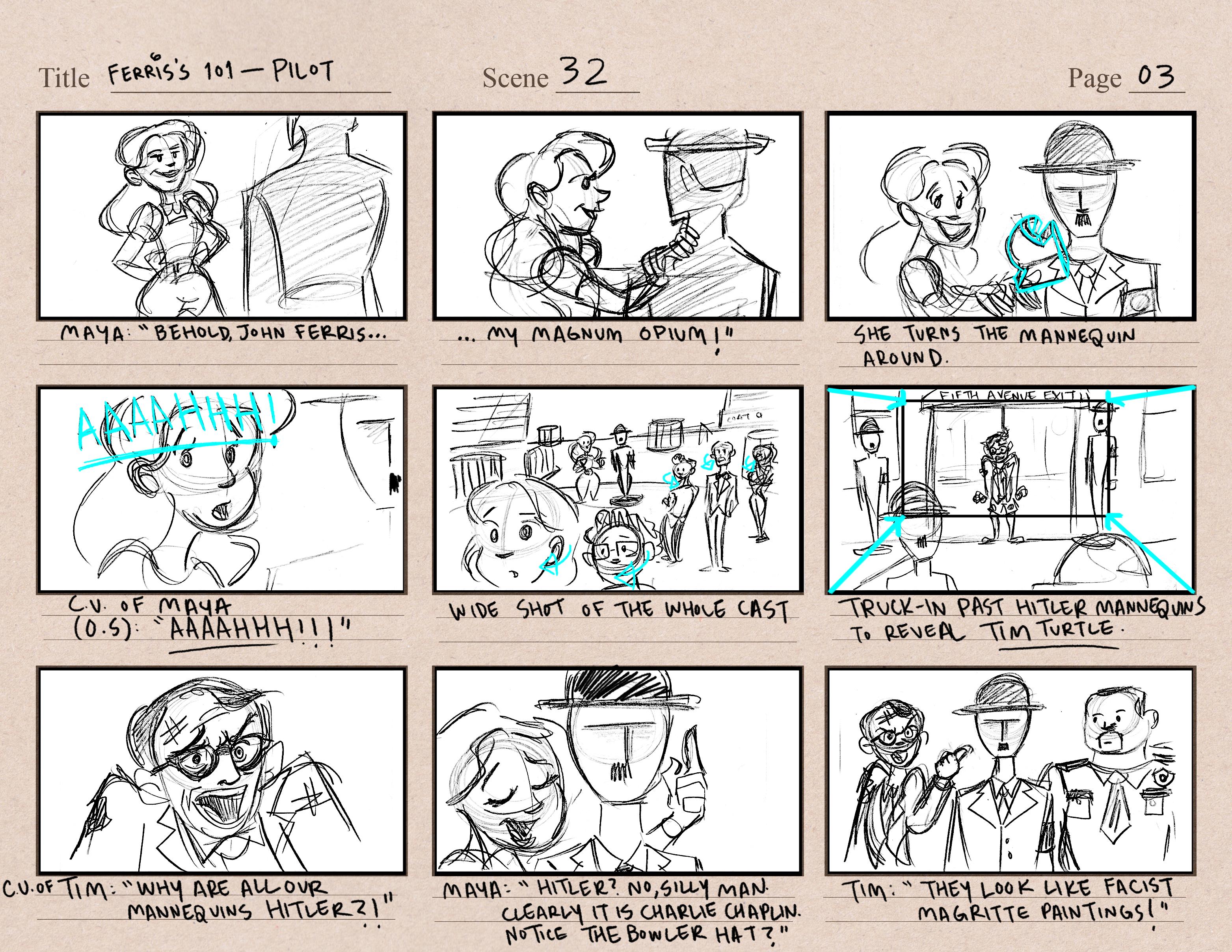 Ferris's Pilot Storyboards Pg1