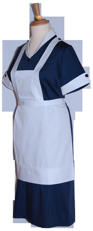 Uniforme de servicio azul y delantal