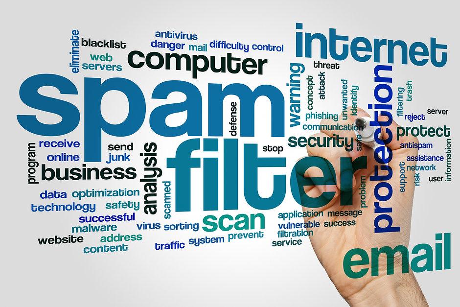 Spam filter concept word cloud backgroun