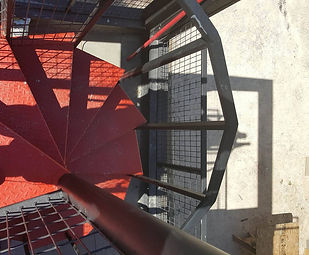 spiral staircas to rooftop deck of our ISBU