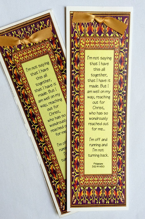 Canvas Bookmark (Phillipians 3:12-14)