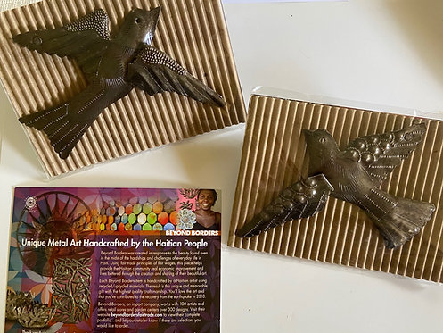 Pose-able Haitian Metal Art Birds