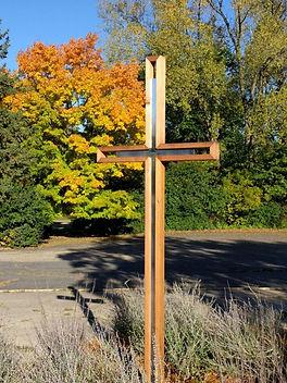 Advent Lutheran Boyscout garden wood - metal cross