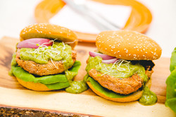 Veg-Turkey burgers w/ Green Goddess