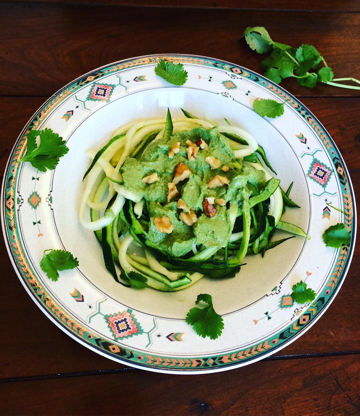 Zucchini Noodles w/ Cilantro Pesto