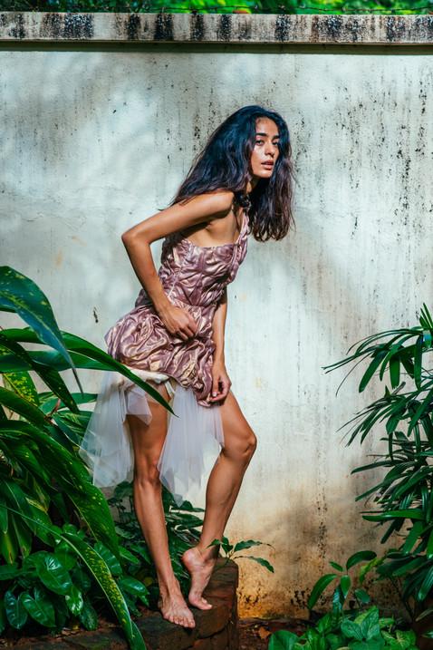 Foilage One-Shoulder Dress | Wearable Art |
