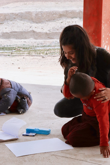 Oona D'mello (Founder & Executive Director) with the 4 year old (youngest) Shachukul student