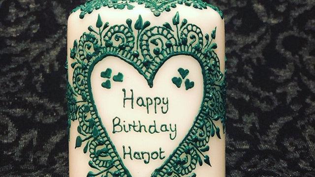 One personalised birthday mehndi candle