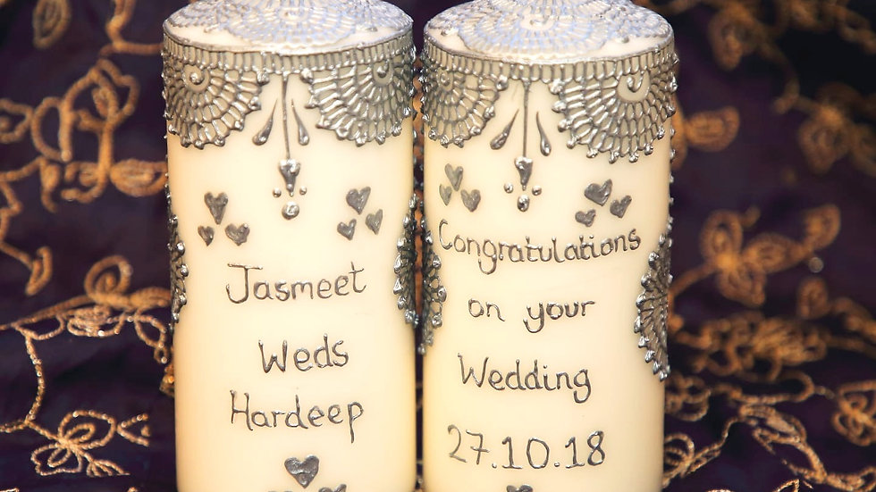 Two personalised wedding mehndi candles