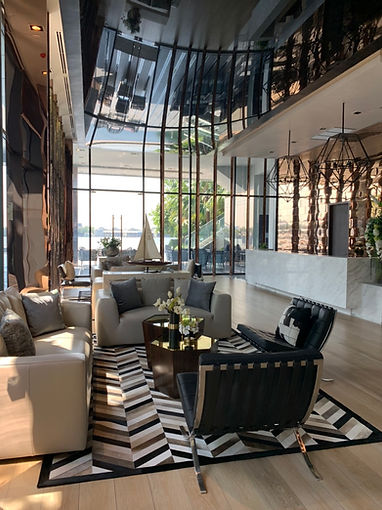 Clubhouse at Canapaya Residences, lounge, black chairs, animal pattern carpets, riverfront clubhouse, best condos in bangkok, best condos in rama 3