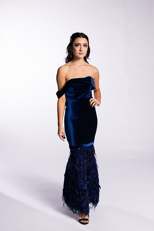 Feathered Velvet Gown