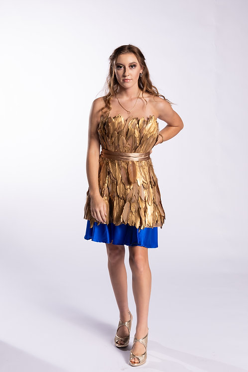 Golden Feathered Party Dress