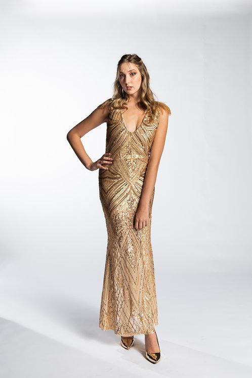 Glistening Gold Sequin Gown
