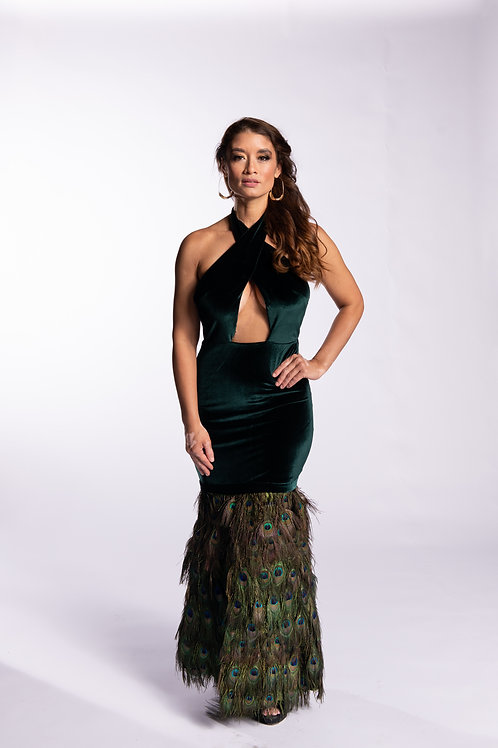 Striking Peacock Gown